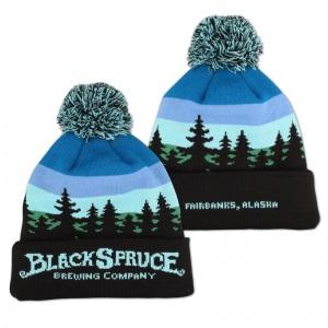 Black Spruce knit pom beanie.