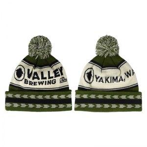 Valley Brewing knit pom beanie.