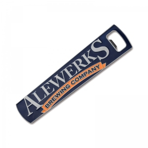 Alewerks custom paddle opener with blue and orange enamel fill
