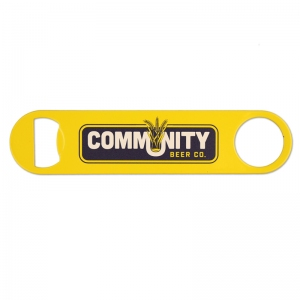 Yellow powder coated opener with 2-color screen print