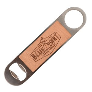 Blue Point engraved wooden paddle opener