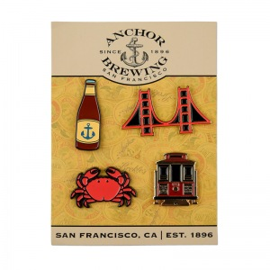 Anchor enamel pin 4 pack display card