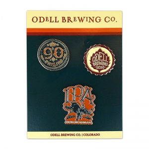 Odell lapel pin 3-pack on custom display card.
