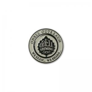 Odell soft enamel round lapel pin.