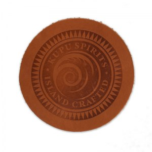 Kupu Spirits embossed leather round coater