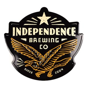 Independence Brewing custom shape embossed tacker