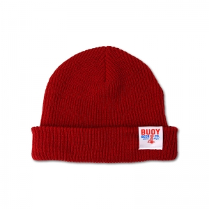 Buoy Richardson cuff beanie with folded woven label tag.