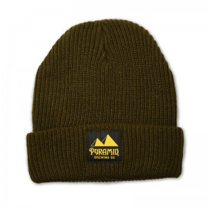 Pyramid cuff beanie with woven label