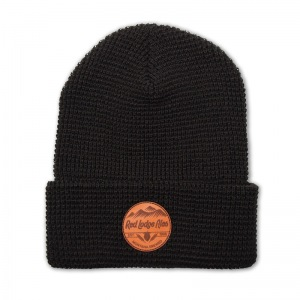 Red Lodge waffle knit beanie with leather patch
