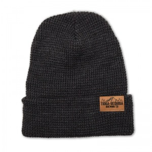 Tioga Sequoia waffle knit beanie with folded leather tag