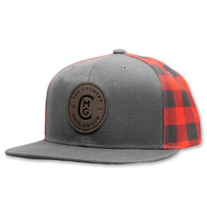 Country Malt grey flat bill with buffalo plaid back