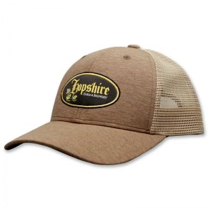 Hopshire heather brown embroidered trucker