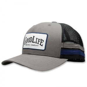 Goodlife patch trucker with fabric strips on side
