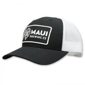 Maui black patch trucker hat