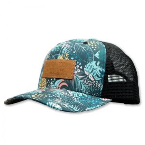 Hana Koa leather patch trucker hat with full pattern print crown