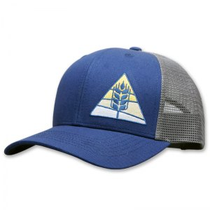 Country Malt embroidered blue trucker