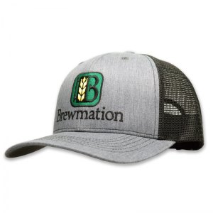 Brewmation heather grey embroidered trucker