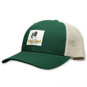 Barley Naked green trucker with woven label
