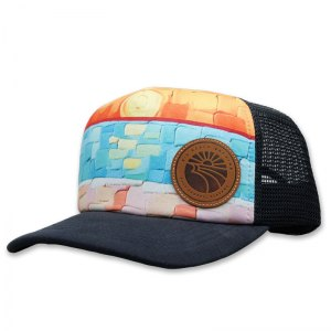 Big Beach sublimated foam trucker with leather patch