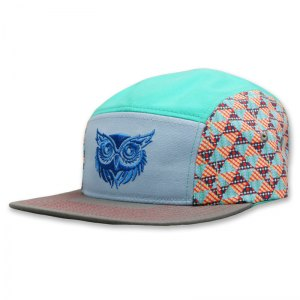 Blue Owl camper with embroidered logo and custom pattern printed sides
