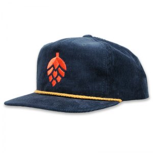 Navy corduroy hat with embroidered logo.