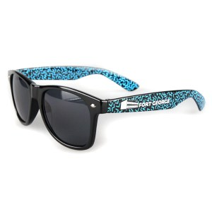 Fort George black sunglasses with inner and outer arm prints