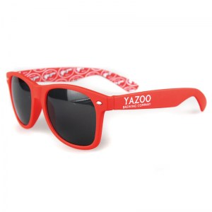 Yazoo red matte sunglasses with inside arm print